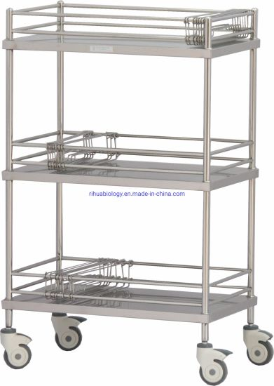 Hospital Stainless Steel Instrument Cart Three Layers