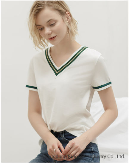 Promotional Stock Garment Lady New Fashion Short Sleeve V-Neck Cotton Fabric Casual T Shirt for Women