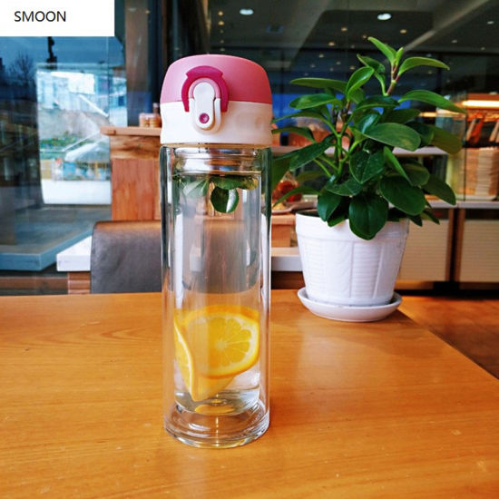 BPA-Free Glass Water Bottle with Bounce Lid 350ml 500ml
