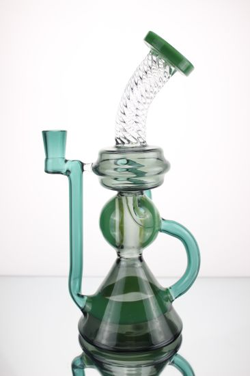 Wholesale Colored Glass Cyclone Pipe Recyclers Smoking Oil Rigs