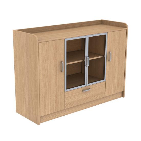 Modern Wooden Design Glass Door Office Use Tea Coffee Table Cabinet