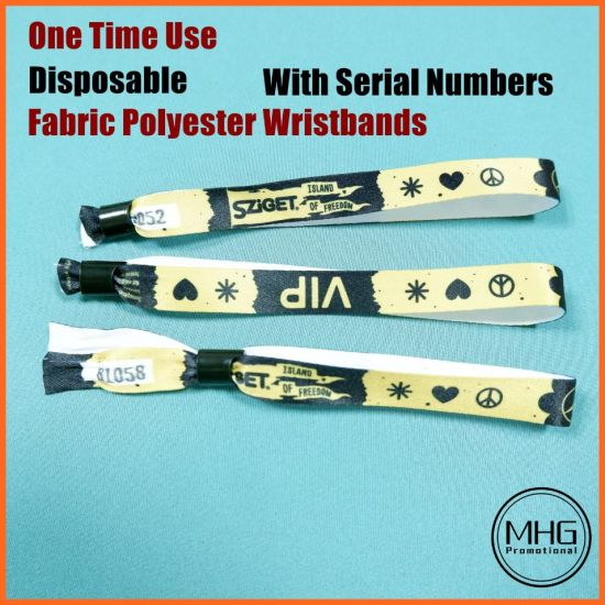 One Time Use Disposable Serial Number Fabric Polyester Wristband