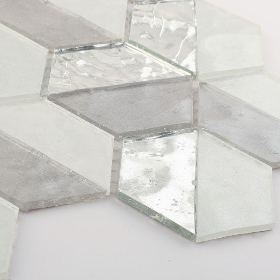 China Grey Glitter Sliver Glass Tile Mosaic Sheets For Bathroom