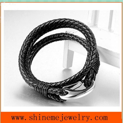 High Quality Titanium Steel Leather Rope Bracelet Wholesale Accessories (BL2860)