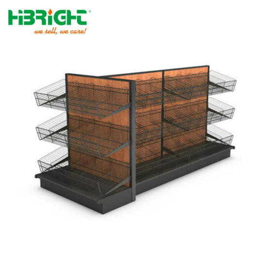 Supermarket Wood Wine Storage Shelf Liquor Display Cabinet Wine Bottle Rack