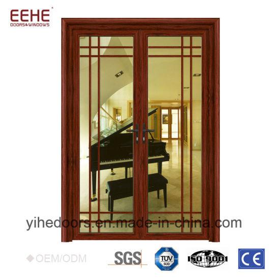China Wood Grain Aluminium Security Doors Cheap Glass Doors China