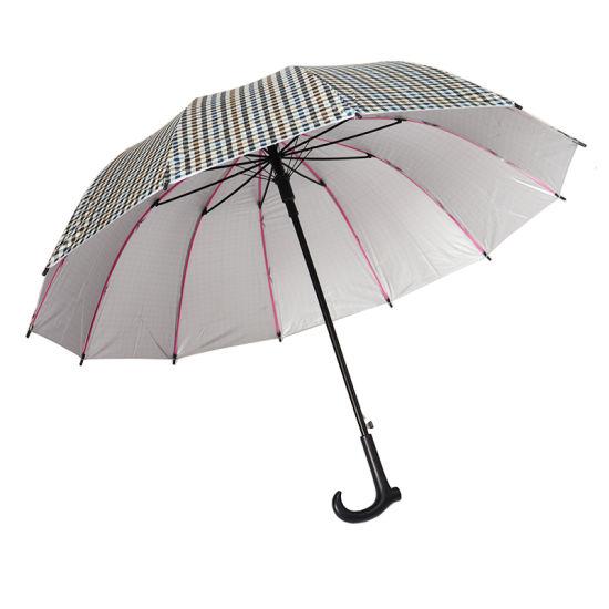 12 Ribs Unbreakable Promotional Walking Stick Umbrellas for Elders (YZ-1903)