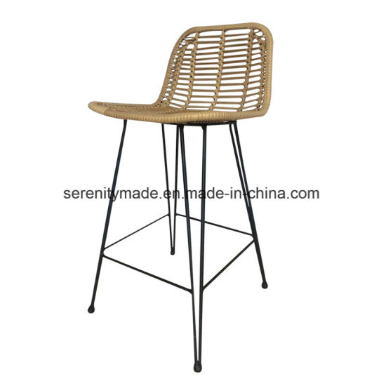 Admirable Bar Furniture Rattan Outdoor High Bar Stool With Black Legs Cjindustries Chair Design For Home Cjindustriesco