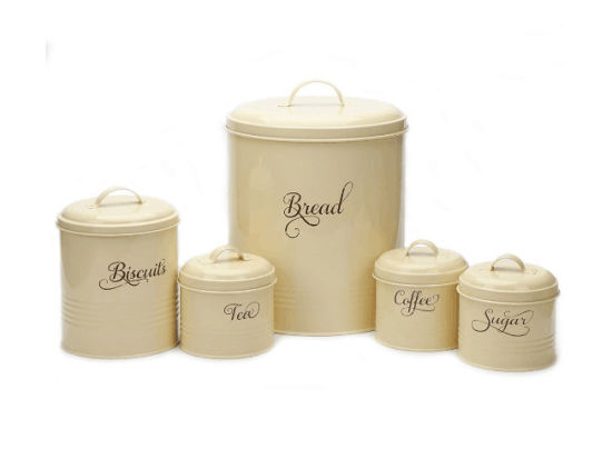 Metal Sugar Coffee Tea Storage Tin Canister Bread Bin Box Container Set