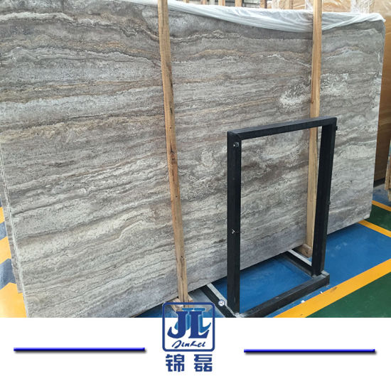 China Iran Italy Marble Stone Honed Filled Silver Grey Travertine