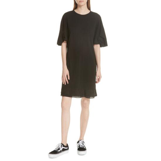 Folded Sleeve Cotton Jersey T-Shirt Dress Women Clothing