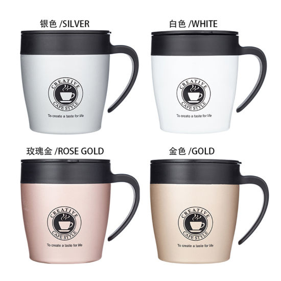 New Coffee Cup Double Layer 304 Stainless Steel Handle Office Mug and Fashion Gift Custom Logo Water Cup