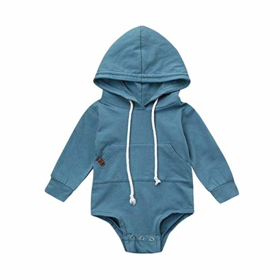 Newborn Infant Baby Clothes Boy Girl Hooded Romper Sweatshirts Drawstring Pockets Solid Long Sleeve Baby Goods