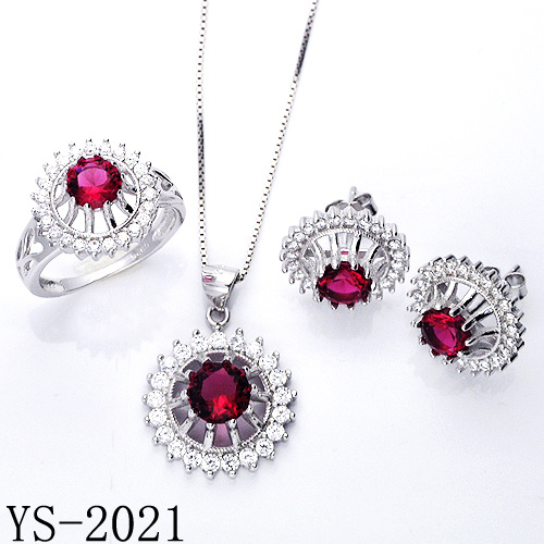 Hot Sale Ruby Zircon Jewelry Set for Woman pictures & photos