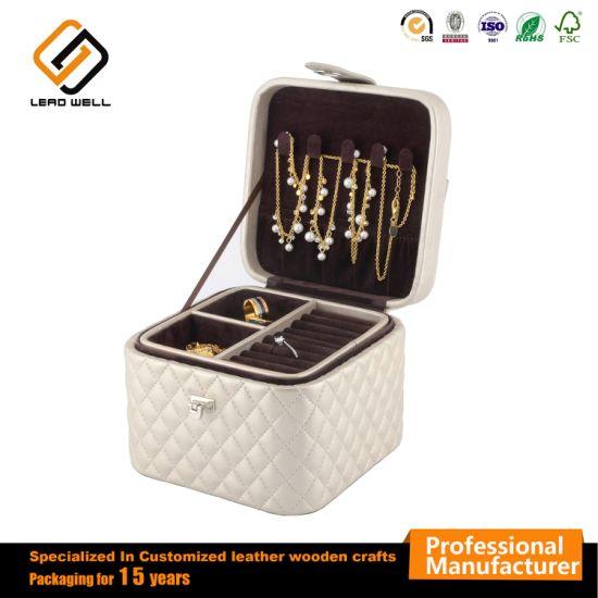 ea1497b5cb7b Small White Square Jewelry Set Box Gift Storage Case