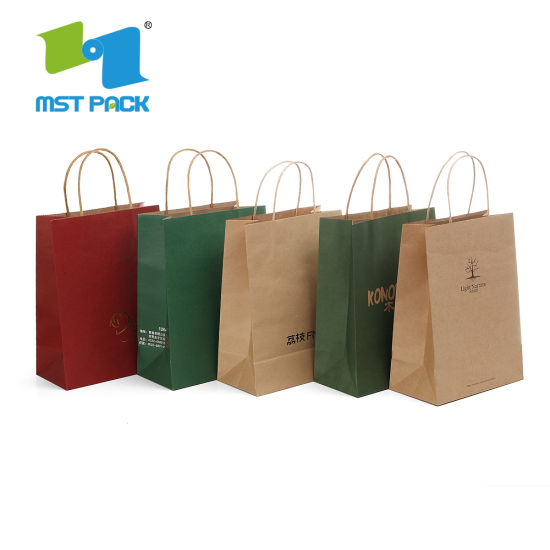 50 Pack Brown Kraft Paper Gift Bags Bulk with Flat Handles for Shopping Gift