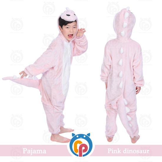 Funny Party Costume Flannel Child Dinosaur Kigurumi Super Soft Sleepwear
