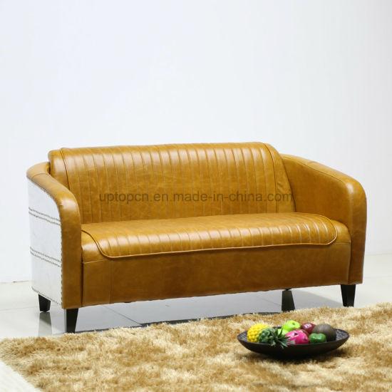 Astounding Synthetic Aluminum Deco Leather Vintage Loveseat Sofa Sp Ks390 Machost Co Dining Chair Design Ideas Machostcouk