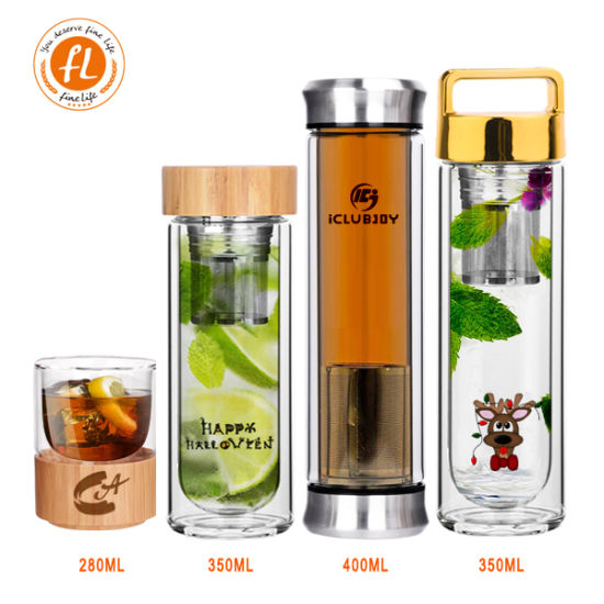 Hotsale Drinking Bamboo Glass Water Bottle with Stainless Steel Filter
