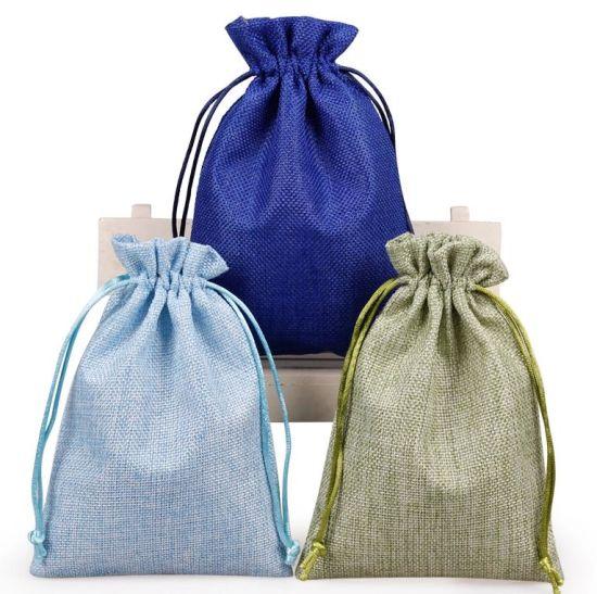Custom Logo Linen Drawstring Jewelry Pouch Packing Bag