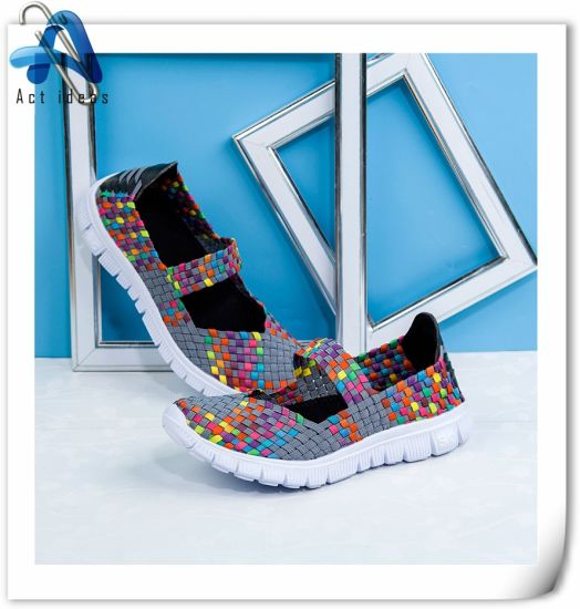 Fashion Leisure Solid Color OEM Flat Woman Woven Shoes