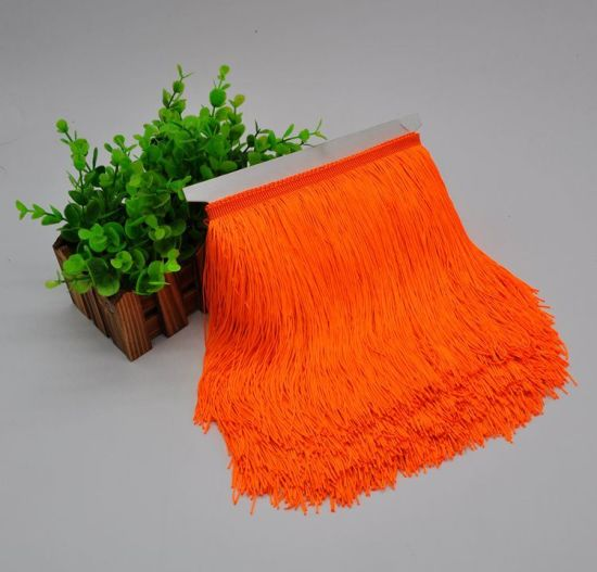 Wholesale 20cm Polyester Double Thread Fringe Tim Tassel for Dress Decoration