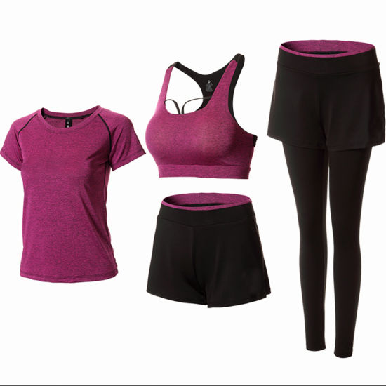 Women′s Yoga Clothing Sport Wear Four-Piece Yoga Suit for Gym pictures & photos