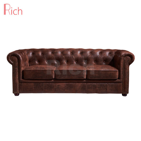 Wholesale Furniture Hotel Living Room Vintage Leather Chesterfield Sofa
