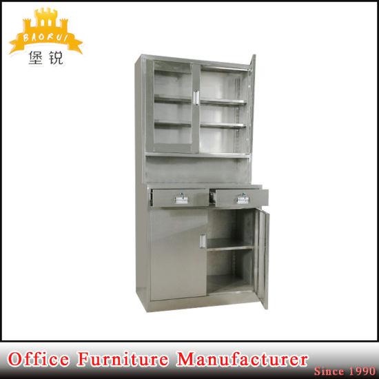 Stainless Steel Gl Door Hospital Cupboard Metal Medicine Storage Cabinet Pictures Photos