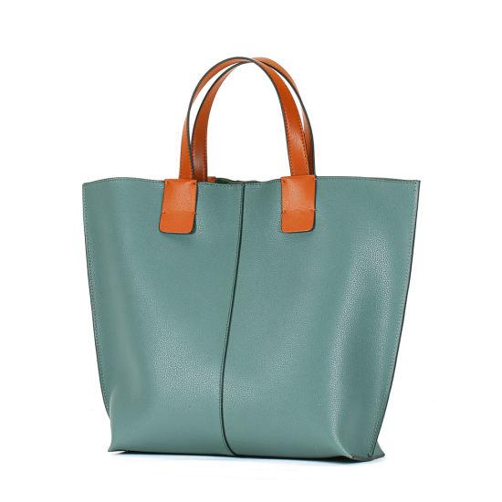 New Design Lake Green Soft Genuine Leather Ladies Tote Lash Handbag