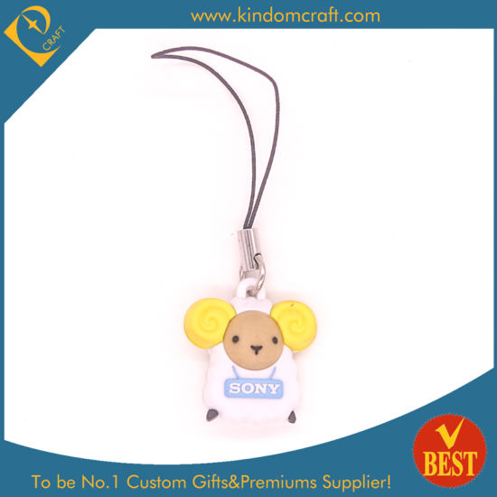 China High Quality 3D PVC Mobile Phone Straps for Cute Animal at Factory Price