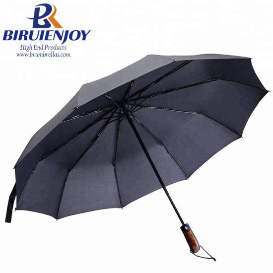 2460cd06a Best Large Men′s 3 Folding Rain Umbrella Black Pongee Automatic 23 Inch 10K