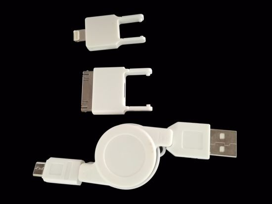 USB Cable for iPhone 3 In1 for 4+Micro+Mini pictures & photos