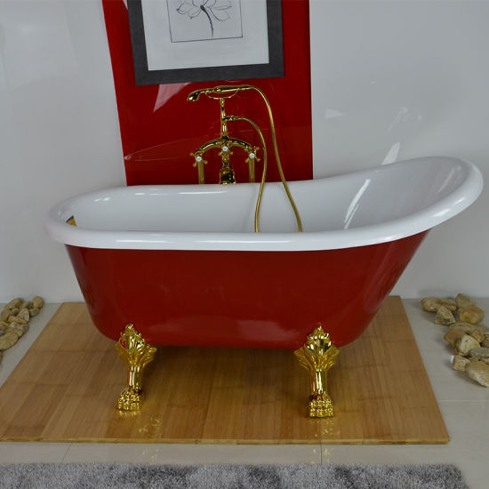 China Acrylic Classical Bathtub with Feet and Red Color (BG-7006K ...