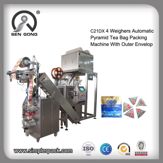 Wholesale Pyramid Nylon Pouch Tea Bag Sealing Packaging Packing Machine with Outer Envelop