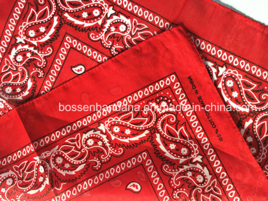 China Factory OEM Produce Custom Double Sides Print Cotton Red Paisley Scarf pictures & photos