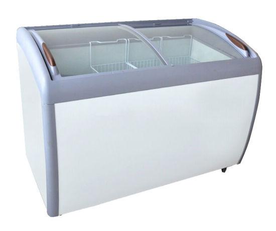 Commercial 12.7 Cuft Curved Glass Lids Gelato Ice Cream Showcase Freezer