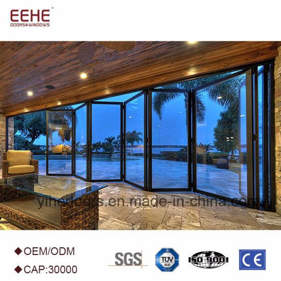 China Waterproof Frameless Folding Glass Doors Aluminum Alloy Door