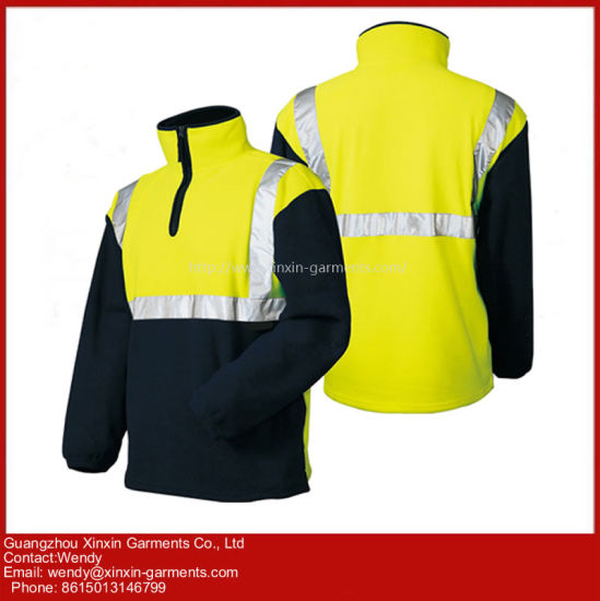 Men's Blue Outdoor Fleece Jacket Reflective Safety Jacket Protective Apparel (W433)