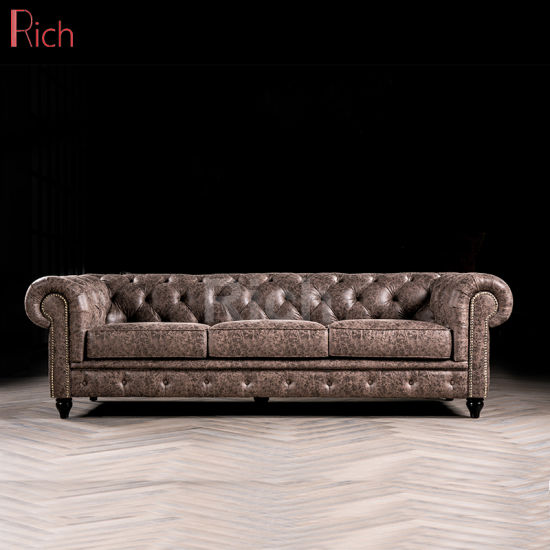 China New Nordic Style Furniture Vintage Leather Chesterfield Sofa