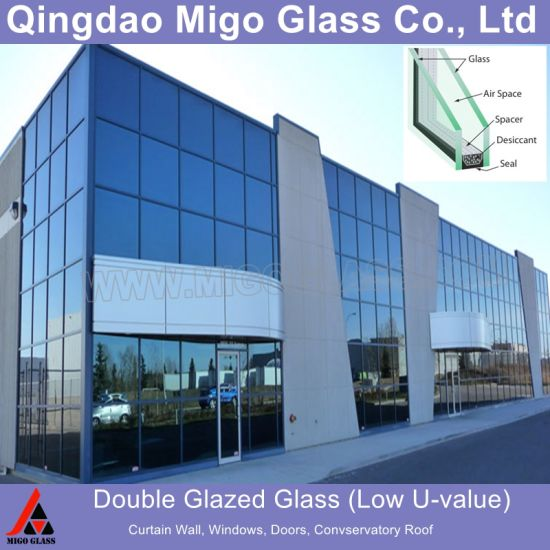 Double Glazed Low-E Insulated Glass for Building Windows, Glass Doors, Curtain Wall