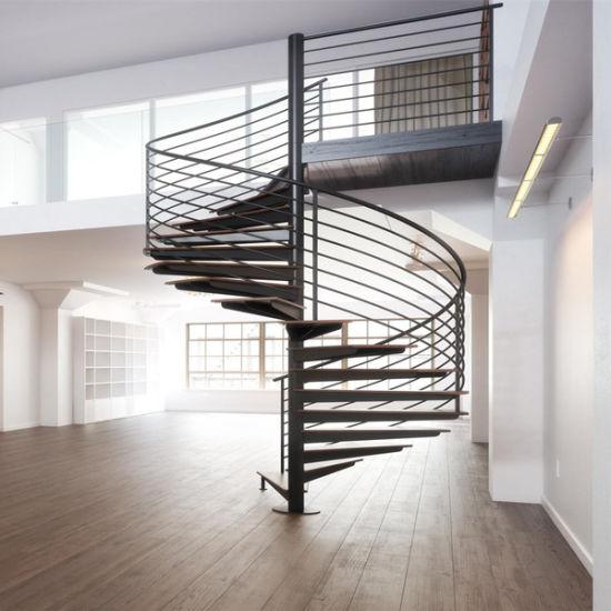 Modern Indoor Stair Rod Railing Design Spiral Staircase