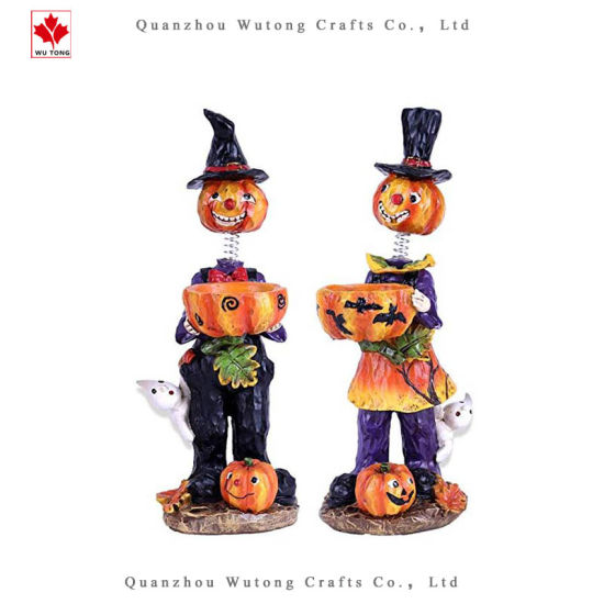 Halloween Candle Holders with Spring Neck Resin Figurines