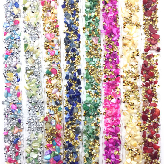 Colorful Hot Fix Crystal Stone Rhinestone Mesh Trimming for Garment Accessories