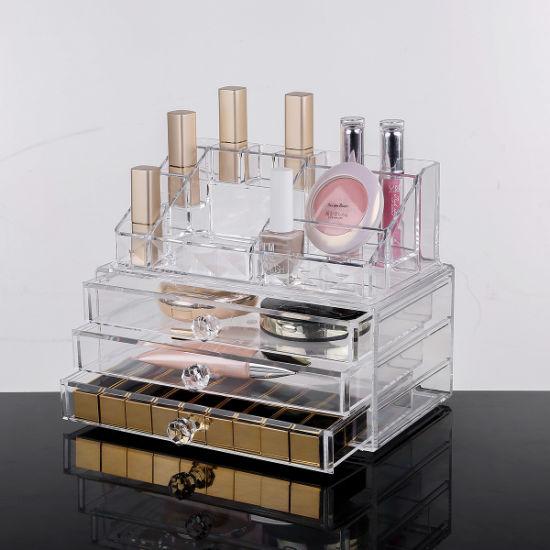 229418b9e1c7 Transparent Cosmetics Display Holder Crystal Makeup Organizer