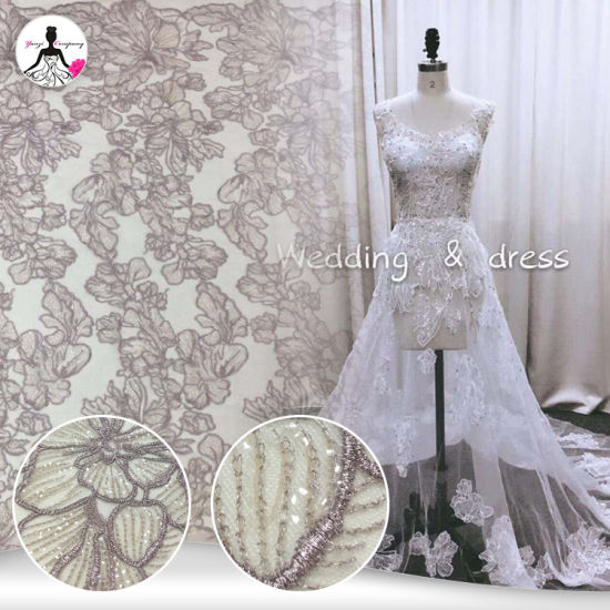 3a568cd99fcfc New Arrival Dark-Pink Sequins Embroidery Tulle Lace for Wedding Gowns