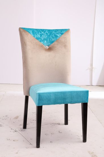 Modern High Back and Tiffany Blue Lint Fabric Covered Dining Chair for Hotel Restaurant