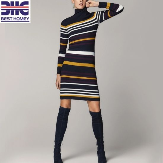 Women's Striped Turtleneck Ribbed Knitted Slim Fit Long Sleeves Sweater Dress for Ladies