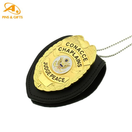 2021 New Custom Metal Security with Leather Wallet Craft Button Military Police Badger Deutsch as Personalized Gift