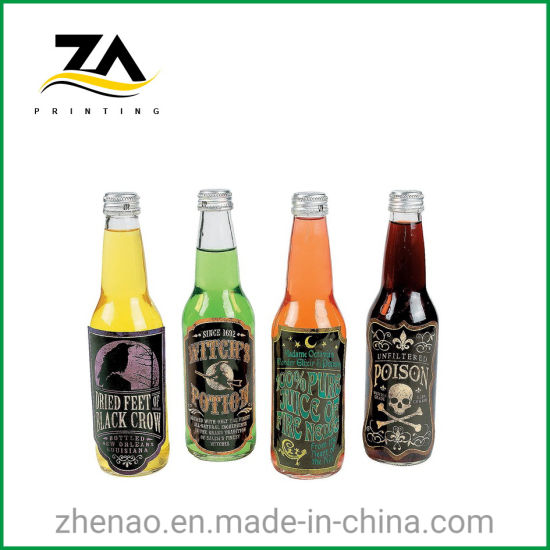 Custom Paper Waterproof Transparent Bottle Beverage Label Printing Sticker